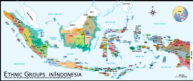 Mapa que representa a los grupos étnicos que habitan en Indonesia. Nos da una idea de la complejidad política del país.