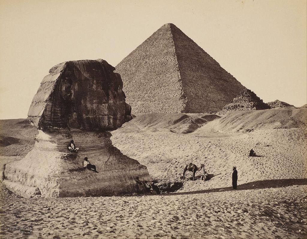 La Esfinge, la Gran Pirámide y dos pirámides menores en 1862.