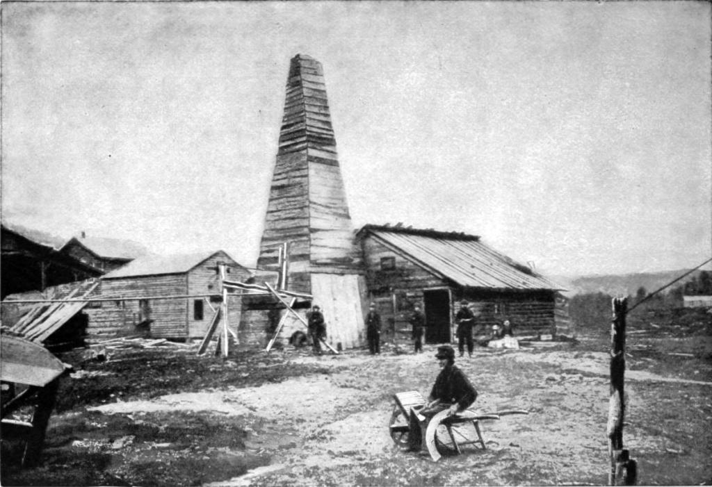 El pozo de Drake en 1859, construido en Cherrytree Township (Pensilvania, Estados Unidos).